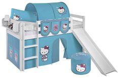 Lit mezzanine blanc avec toboggan et rideau bleu Hello Kitty 90x190 cm