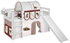 Lit mezzanine blanc avec toboggan et rideau Dinosaures marron et beige 90x190 cm