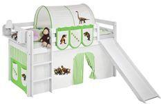 Lit mezzanine blanc avec toboggan et rideau Dinosaures vert et beige 90x190 cm