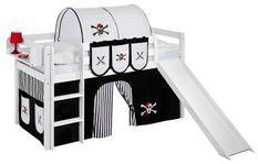 Lit mezzanine blanc avec toboggan et rideau noir Pirate 90x190 cm