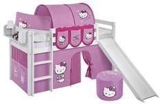 Lit mezzanine blanc avec toboggan et rideau rose Hello Kitty 90x190 cm