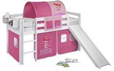 Lit mezzanine blanc avec toboggan et rideau rose Petite fée 90x190 cm