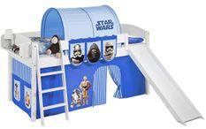 Lit mezzanine blanc avec toboggan et rideau Star Wars bleu 90x190 cm