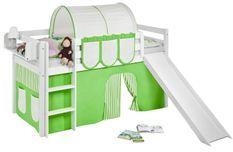 Lit mezzanine blanc avec toboggan et rideau vert et beige Dorie 90x190 cm
