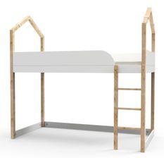 Lit mezzanine bois massif clair et blanc Casa 90x190 cm