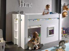 Lit mezzanine bois laqué blanc 90x200 cm avec rideaux coton beige Noah