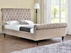 Lit moderne tête de lit haute capitonnée tissu beige Kapy 160x200 cm