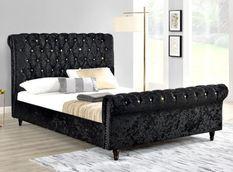 Lit moderne tête de lit haute capitonnée tissu noir Kapy 160x200 cm