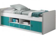 Lit multi-rangement 90x200 cm bois blanc et turquoise Bonny
