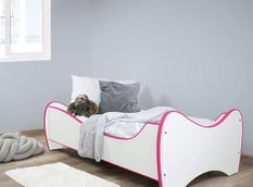 Lit pour fille blanc et rose avec matelas Shoopy 70x140 cm
