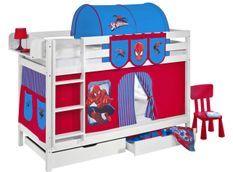 Lit superposable blanc et rideau rouge Spiderman 90x190 cm