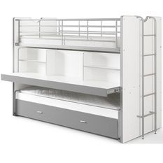 Lit superposé 3 niveaux avec sommier bois blanc et gris Bonny 90x200 cm