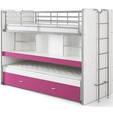 Lit superposé 3 niveaux bois blanc et fuchsia Bonny 90x200 cm