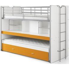 Lit superposé 3 niveaux bois blanc et orange Bonny 90x200 cm