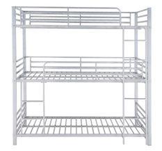 Lit superposé 3 niveaux métal gris 90x190 cm Trio