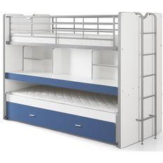 Lit superposé 90x200 cm 3 niveaux avec sommier bois blanc et bleu Bonny