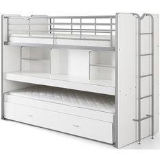 Lit superposé 90x200 cm 3 niveaux bois blanc Bonny