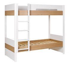 Lit superposé 90x200 cm bois blanc et chêne clair Nomade