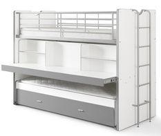 Lit superposé bois blanc et gris Bonny 90x200 cm