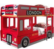 Lit superposé bus 90x200 cm bois laqué rouge Londres