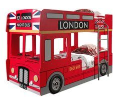 Lit superposé bus Londres 90x200 cm