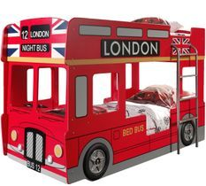 Lit superposé bus Londres 90x200 cm bois laqué rouge Cara