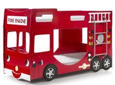 Lit superposé camion de pompier 90x200 cm bois laqué rouge Cara