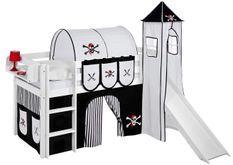 Lit surélevé toboggan blanc laqué avec tour et rideau blanc et noir Pirate 90x190 cm
