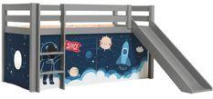Lit toboggan 90x200 cm avec tente astronaute pin massif gris Pino