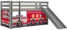 Lit toboggan 90x200 cm avec tente camion pompier pin massif gris Pino