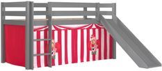 Lit toboggan 90x200 cm avec tente clown pin massif gris Pino