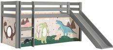 Lit toboggan 90x200 cm avec tente dinosaure pin massif gris Pino