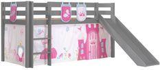 Lit toboggan 90x200 cm avec tente et 3 pochettes princesse pin massif gris Pino