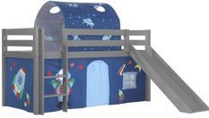 Lit toboggan 90x200 cm avec tente et tunnel astra pin massif gris Pino