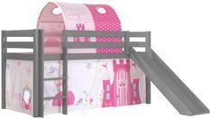 Lit toboggan 90x200 cm avec tente et tunnel princesse pin massif gris Pino
