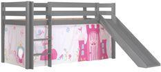 Lit toboggan 90x200 cm avec tente princesse pin massif gris Pino