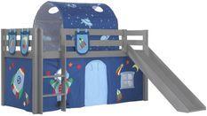 Lit toboggan 90x200 cm avec tente tunnel et 3 pochettes astra pin massif gris Pino