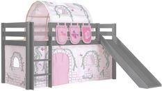 Lit toboggan 90x200 cm avec tente tunnel et 3 pochettes contra pin massif gris Pino