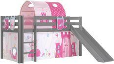Lit toboggan 90x200 cm avec tente tunnel et 3 pochettes princesse pin massif gris Pino