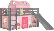 Lit toboggan 90x200 cm avec tente tunnel et 3 pochettes printemps pin massif gris Pino