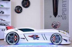 Lit voiture à Led Speedy blanc 90x190 cm