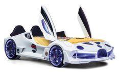 Lit voiture turbo V7 blanc à Led 90x190 cm