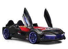 Lit voiture turbo V7 noir à Led 90x190 cm