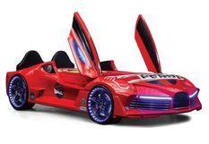 Lit voiture turbo V7 rouge à Led 90x190 cm