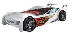 Lit voiture de course 90x200 cm bois blanc Lemans