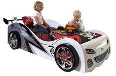 Lit voiture de course 90x200 cm bois blanc Rapido