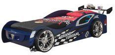 Lit voiture de course 90x200 cm bois bleu Racing