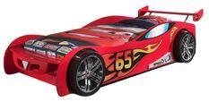 Lit voiture de course 90x200 cm bois rouge Lemans