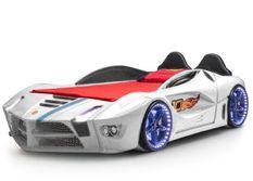 Lit voiture de course blanc Flamme 90x190 cm