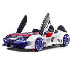 Lit voiture de course blanche Flamme 90x190 cm